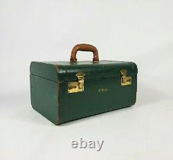 Vintage Green Train Makeup Case 1940's Travel Luggage Suitcase