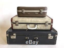 Vintage Grey Beige Brown Tan Tweed Makeup Train Suitcase Luggage Case Trunk Set