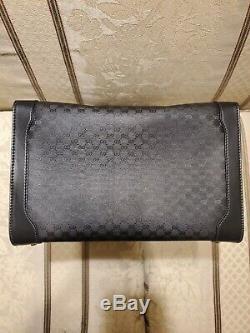 Vintage Gucci Black Monogram Train Case Makeup Beauty Travel Bag 1970s