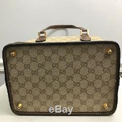 Vintage Gucci Monogram Train Case Doctor Bag Makeup Case Handbag