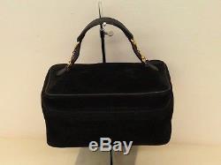 Vintage Gucci black sude Horsebit hand bag / vanity / cosmetic case / train case