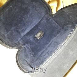 Vintage Gucci blue suede horsebit cosmetic bag makeup bag train case vanity