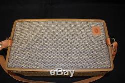 Vintage HARTMANN Halston Tweed Overnight Make Up Train Case Leather Strap