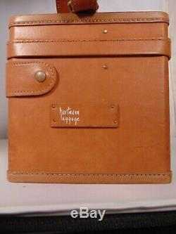 Vintage Hartmann Leather Travel Suitcase Hard Train Case Bag Cosmetic Leather
