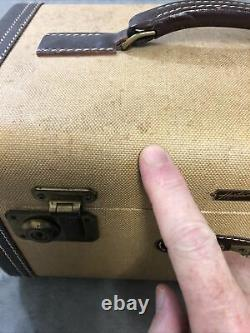 Vintage Hartmann Leather Trim Train Makeup Case Cosmetics Lockable Bag With Keys