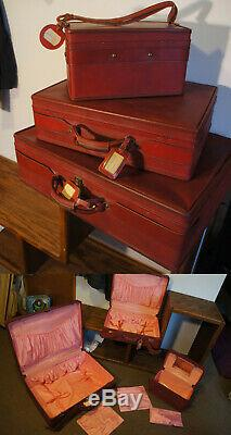 Vintage Hartmann Luggage CLEAN Red 3 Pc Bag and Makeup Vtg Train Case Retro Set