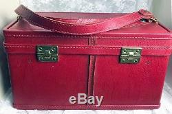 Vintage Hartmann Luggage Red Train Case Cosmetic Case 1950's 8.5H x15W x 8.5D