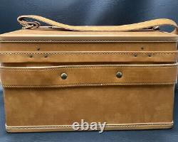 Vintage Hartmann Luggage Travel Train Case with Key Cosmetic Bag Mirror Strap WOW