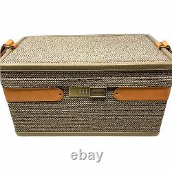 Vintage Hartmann Luggage Tweed & Belting Leather Train Case Cosmetics Bag