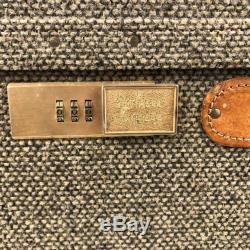Vintage Hartmann Luggage Tweed Leather Train Case Overnight Cosmetics