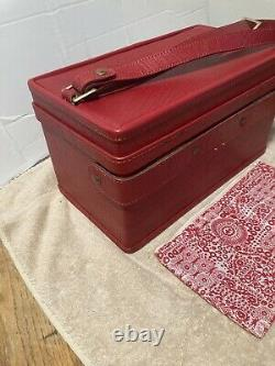 Vintage Hartmann Red Leather Luggage Overnight Bag Train Case Makeup