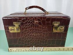Vintage Leather Shortrip Carry-On Train Case Travel Toiletries Makeup Case