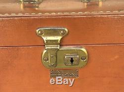 Vintage Luce Tan Travel Train Makeup Vanity Streamline Luggage Case