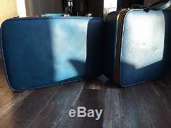 Vintage Luggage Set Ventura Suitcase Train Case Blue Carry On Makeup Mid Century