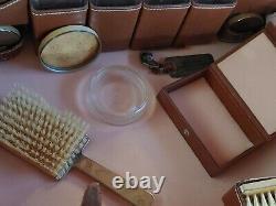 Vintage MARK CROSS leather train case / transatlantic cosmetic luggage suitcase