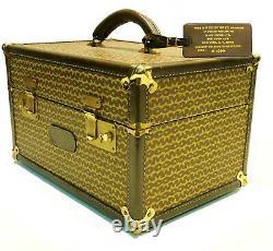 Vintage Mark Cross Monogram & Belting Leather Makeup Train Travel Case Luggage