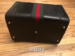 Vintage Navy Green & Red Stripe Gucci Cosmetics Bag Train Case Suitcase Keys