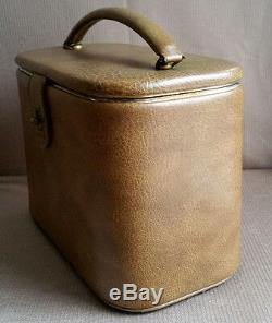 Vintage Olive Leather Vanity Travel Train Case Luggage Frame Box Makeup Bag