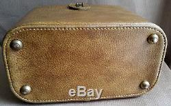 Vintage Olive Leather Vanity Travel Train Case Luggage Frame Box Makeup Bag