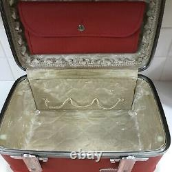 Vintage Red American Tourister Tiara Hard Shell Makeup/Train Case tray + mirror