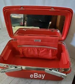 Vintage Red Samsonite Silhouette Train Hard Makeup Case w Original Tray & Key