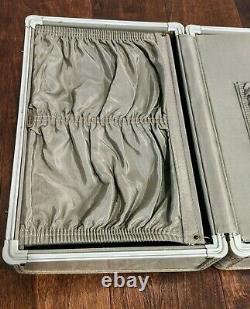 Vintage Retro SAMSONITE Luggage Make-Up Train Case Marble White Suitcase Key