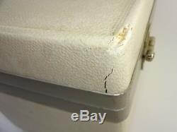 Vintage Samsonite Profile Beauty White Hard Shell Train Case w Key & Makeup Tray