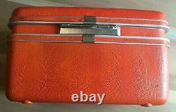 Vintage Samsonite Train Case ORANGE Make-up Beauty Train Case with Mirror NICE
