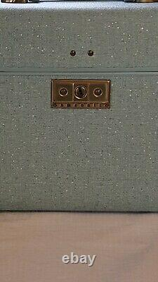 Vintage Samsonite Train Case Turquoise Retro MCM Aqua Blue Suitcase Makeup withKey