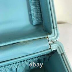 Vintage Samsonite Train Case Turquoise Retro MCM aqua suitcase makeup