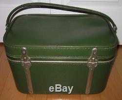 Vintage Sears Green Train Case Cosmetic Make-Up Carry On Overnight Suitcase