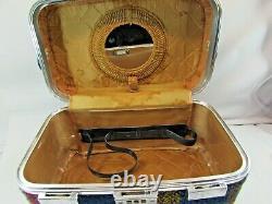 Vintage Skyway Luggage Makeup Train Case Tweed Plaid 32529 Locking