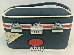 Vintage Skyway Train Case Navy Carry On Luggage Cosmetic Mirror Lock Toiletry