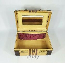Vintage Striped Tweed Train Makeup Case Gold & Brown Suitcase Luggage