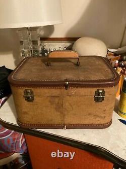Vintage TWEED Train Case Makeup Travel Suitcase Luggage