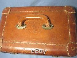 Vintage Tan Leather Vanity Travel Train Case Luggage Frame Box Makeup Bag Mirror