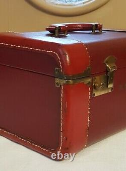 Vintage Train Case Suitcase Burgundy Red Leather 1940's Luggage Makeup Carry On