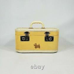 Vintage Train Travel Makeup Case Suitcase Soft Yellow 1950's Luggage