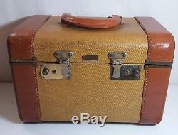 Vintage Traveler Brand Train Case Make-up Vanity Jewelry 1940's Leather Nice