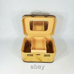 Vintage Tweed Yellow Train Makeup Case 1940's Suitcase Luggage
