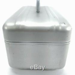 Vintage ZERO Halliburton Cosmetic Train Case Aluminum Silver Blue Lining 16x9x7