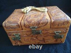 Vintage tooled leather cosmetic or train case overnight suitcase Mexico 40s 50