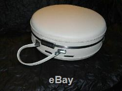 Vintage white American Tourist round hat box train case hard shell with key makeup