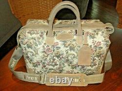Vntg FRENCH LUGGAGE TAPESTRY 14x9x9 TRAIN CASE Rose Cosmetic Shoulder Carry-on
