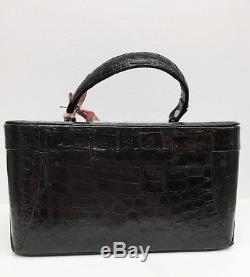 Vntge Genuine Alligator Or Croco Train Beauty Cosmetic Vanity Luggage Case withKey