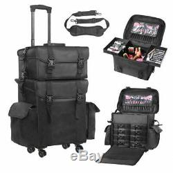 Voilamart Rolling Makeup Case Trolley 2 In 1 Travel Cosmetic Train Cases On Whee