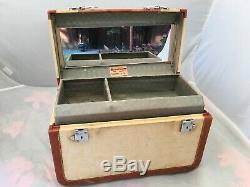 Vtg 40's WHEARY Cosmetic Makeup Train Travel Hard Case Carry On with Tray 14