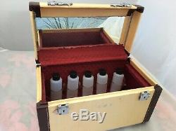 Vtg 50's WHEARY Cosmetic Makeup Train Travel Hard Case Carry Leather Trim 14