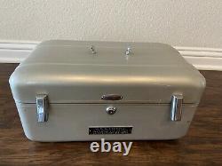 Vtg Classic Halliburton Cosmetics Train Case Aluminum 1950s Missing Handle/Key