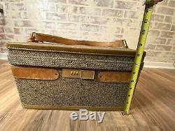 Vtg Hartmann Tweed Leather Train Case Toiletries Cosmetics Travel Bag + Mirror